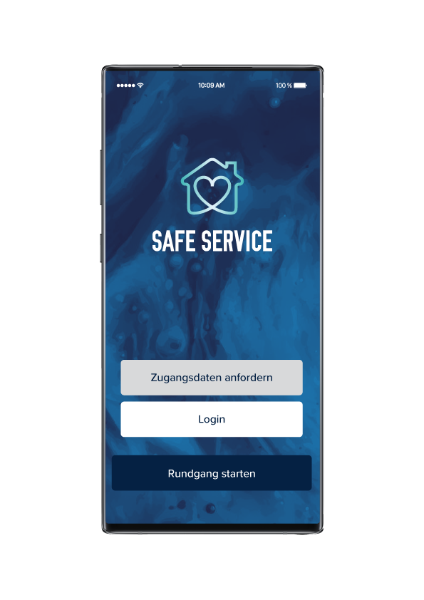 Startscreen der SAFE-SERVICE App